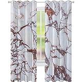 cortinas de la ventana, Dolomita Rocks Patrón con características remolinos y líneas agrietadas Arte abstracto, W52 x L84 Ojales Cortinas para el tratamiento de ventanas, Beige Marrón