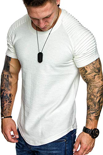 COOFANDY Mens Pleats Short Sleeve Stylish Muscle Bodybuilding Gym Tees T-Shirt White XXL