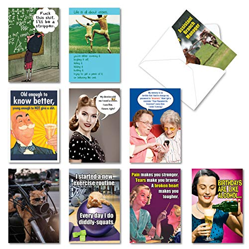 NobleWorks - 10 Funny Birthday Cards Boxed - Assorted Humor Photos, Cartoons, Bulk Bday Greeting Cards with Envelopes - A Very Funny Birthday AC5979BDG-B1x10