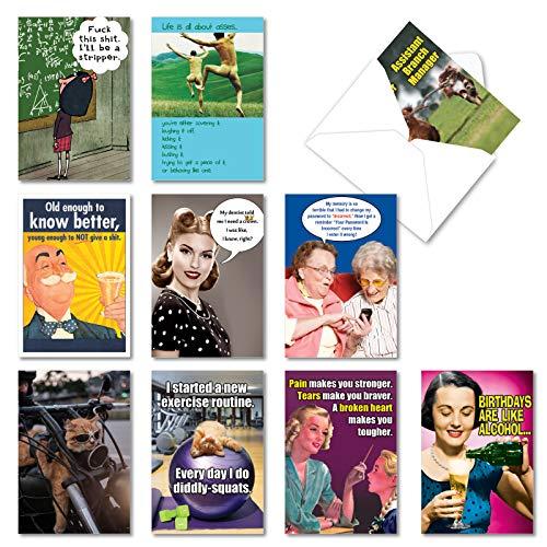 NobleWorks - 10 Funny Birthday Cards Boxed - Bulk Notecard Set, Assorted Humor Photos, Cartoons - A Very Funny Birthday AC5979BDG-B1x10