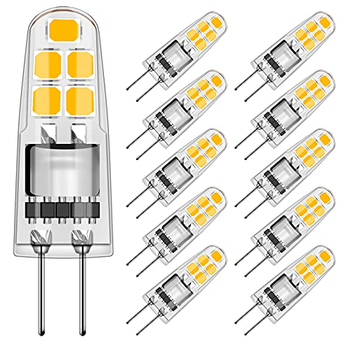 Ampoule G4, Eofiti G4 LED Ampoule 2W G4 LED Équivalentes 20W Ampoules Halogènes, Blanc Chaud 3000K 200LM Ampoule LED G4, AC/DC 12V Ampoules, Non dimmable, Lot de 10
