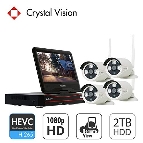 (2020 Upgraded Ver.) [4CH] Crystal Vision CVT804A-20WB All-in-One 1080P Full HD Wireless...