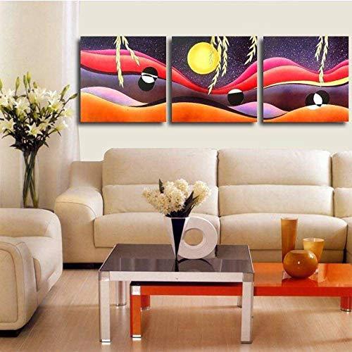 NLZNKZJ Kombinierte Moon Wicker Leinwand Wandkunst Gemälde, schöne Hauptdekoration Gemälde Ölgemälde Dekor 50x50cmx3 kein Rahmen