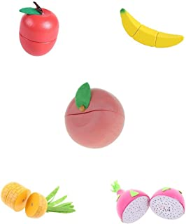 MagiDeal Set of 5 Assorted Magnet Wooden Fruits Kids Preschool Pretend Role Play Food Cutting Toy