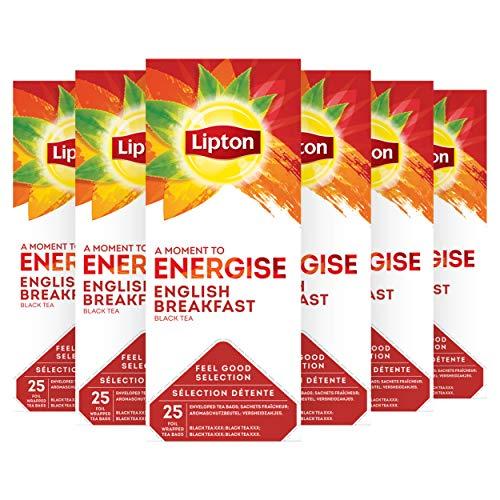 Lipton Gama Sensaciones Té Negro English Breakfast Pack de 6 cajas x 25 bolsitas de te (Total: 150 bolsitas)