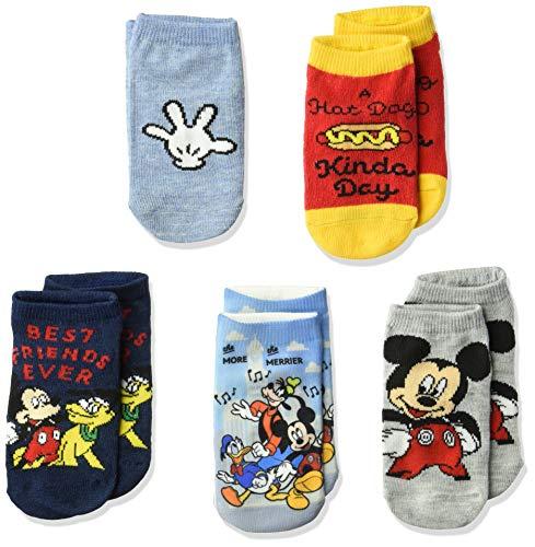 Disney Mickey Mouse - Calcetines informales cortos para niños, 5 unidades, Surtido de sherbet/puro., Shoe Size: 4-8