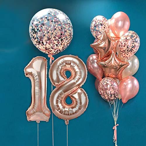 AcnA Palloncini Compleanno Decorazioni 18 Anno, 18 Palloncini Oro Rosa, Palloncino Numero 18, Palloncini Compleanno, Compleanno Palloncini in Lattice Coriandoli Palloncini