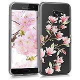 kwmobile Funda Compatible con Samsung Galaxy A5 (2017) - Carcasa de TPU y Magnolias en Rosa Claro/Blanco/Transparente