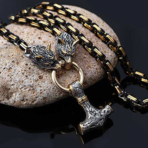YOROOW Mitología Nórdica Cabeza de Lobo de Acero Inoxidable Thor Hammer Colgante Collar, Viking Mjolnir King Chain Men's Amulet Necklace Chapado Steampunk Jewelry,Oro,70cm