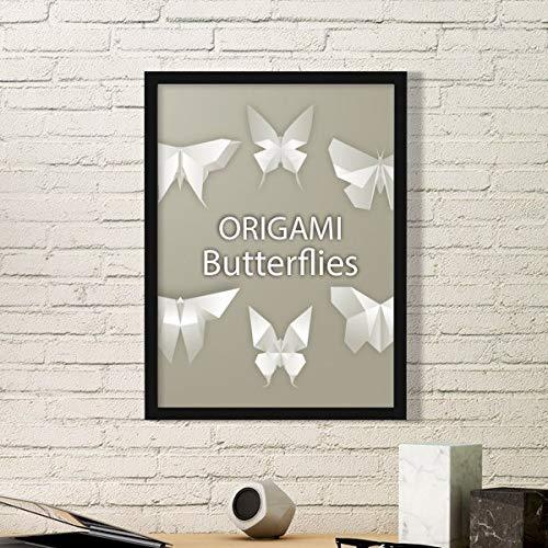 DIYthinker Resumen de la Mariposa Blanca de Origami del Arte del Modelo Pintura Foto de la Imagen del rectángulo de Madera del hogar del Marco Regalo decoración de la Pared Medio Negro