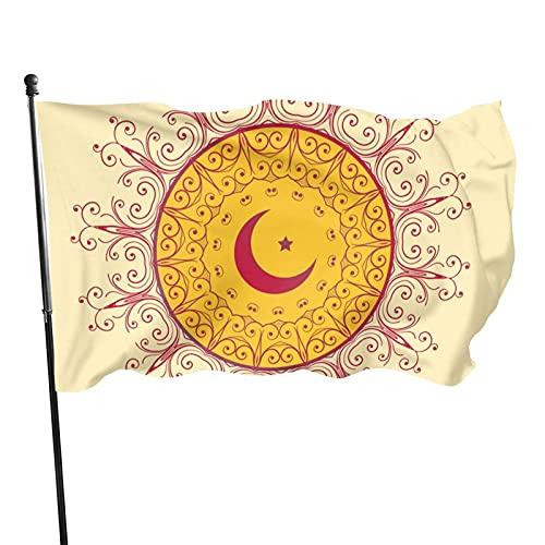 Bandera de jardín de luna y estrella Bandera de interior al aire libre 3 x 5 pies, banderas de playa duraderas y resistentes a la decoloración con encabezado, fácil de usar