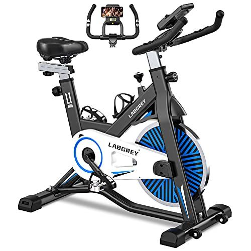 LABGREY Bicicleta Estatica de Spinning Bici Ejercicio Gym Casa Indoor Fitness Bikes Volante 15 KG, Resistencia Ajustable con Pantalla LCD y Monitor de Frecuencia Cardíaca