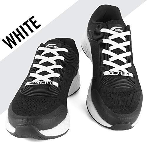 FLEXILACES - elastische Schnürsenkel | nie Wieder Schuhbänder binden - Weiß (Wings for Life - Spendenedition)