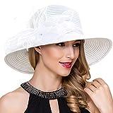 Women Kentucky Derby Church Dress Cloche Hat Fascinator Floral Tea Party Wedding Bucket Hat S052 White