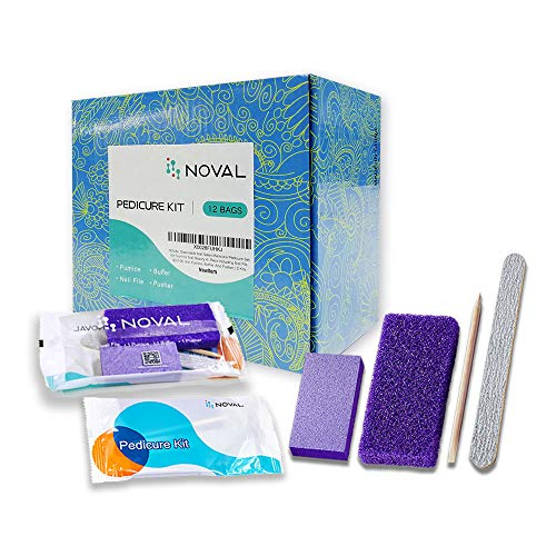 NOVAL Disposable Nail Salon Manicure Pedicure Set Kit Foot for Nail Beauty,4- Piece Including Nail File 80/100 Grit, Pumice, Buffer And Pusher,12 Kits