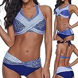 HLIYY Femmes Polka Dots Maillot de Bain Push-up Beach Swimsuit Bikini Swimwear Plus Size 2 Pièces, Été Classique Florale Maillots de Bain Style Sport Bikinis Plage