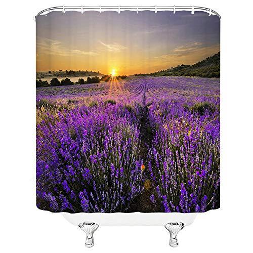 ZZYJKSD Blumenlandschaft Lila Lavendel 3D gedruckte Duschvorhänge Badezimmer Wohnkultur Badvorhang Wasserdichter Polyesterstoff - 180X200CM