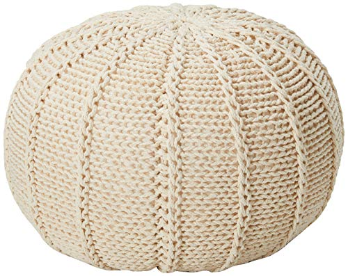 Christopher Knight Home Agatha Knitted Cotton Pouf, Beige