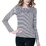 Tulucky Women's Casual Long Sleeve Shirts Stripe Tees Round Neck Tank Tops (WhiteDarkblue, S)