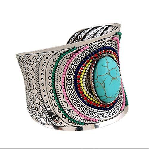 Fnito Armband Vintage Farbe Manschette Armbänder für Frauen Bunte Rocailles Stein Öffnen Breite Manschette Armbänder Armreifen Schmuck Geschenk