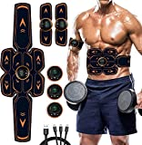 WARDBES EMS Muscle Stimulator, Abs Trainer Abdominal Muscle Toner Electronic Toning Belts Workout Home Fitness Device with USB Rechargeable for Abdomen Arm Leg Men And Women