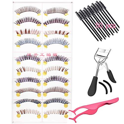 SIPLIV 3D Handmade Colorful False Eyelashes Stage Art Latin Dance Lashes Reusable Eyelash Set with Eyelash Curler Tweezers 50 pcs Eyelash Brush - 10 Pairs