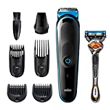 Braun Hair Clippers for Men MGK5245, 7-in-1 Beard Trimmer, Mens Grooming Kit, Cordless & Rechargeable, with Gillette ProGlide Razor