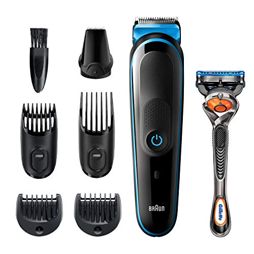 Braun Hair Clippers for Men MGK5245, 7-in-1 Beard Trimmer, Detail Trimmer, Cordless & Rechargeable, with Gillette ProGlide Razor, Black/Blue