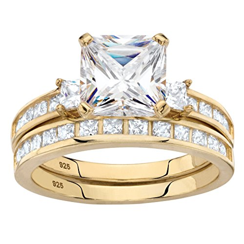 14K Yellow Gold over Sterling Silver Princess Cut Cubic Zirconia Bridal Ring Set Size 8