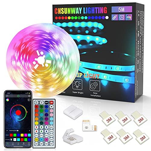 LED Strip 5M, CNSUNWAY RGB SMD 5050 Bluetooth Musik Sync LED Streifen LED Lichtband, APP Steuerung und 44 Tasten Fernbedienung für Haus, Küche, Party, TV, Dekoration