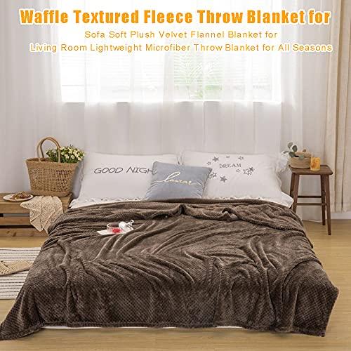 Cmstop Waffelstrukturierte Fleece-Überwurfdecke für Sofa Weiche Plüsch-Samt-Flanelldecke für das Wohnzimmer Leichte Mikrofaser-Überwurfdecke für alle Jahreszeiten