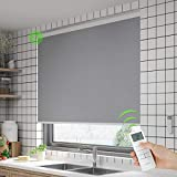 Motorized Roller Blinds for Windows, Blackout Blinds and Shades with Remote Control for Home, Office, Environmentally Friendly, Odorless, Grey