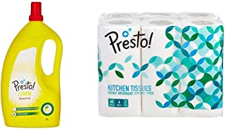 Amazon Brand - Presto! Dish Wash Gel - 2 L (Lemon) & Amazon Brand - Presto! 2 Ply Kitchen Tissue/Towel Paper Roll - 60 Pulls (Pack of 6)