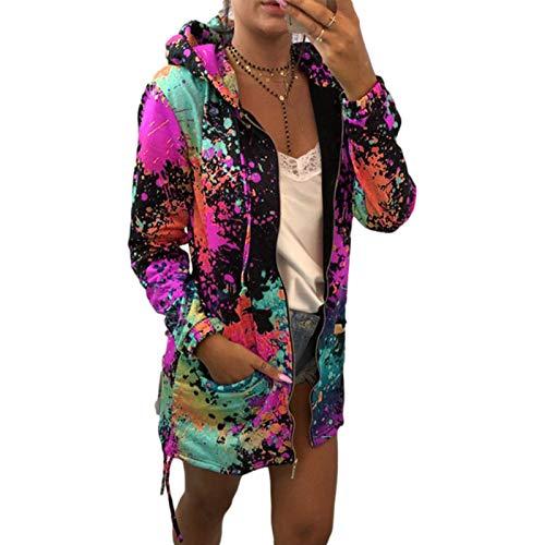 Katenyl Abrigo de sudadera estampado con capucha para mujer con cremallera Streetwear Moda Entrenamiento Correr Cómoda chaqueta de bolsillo XL