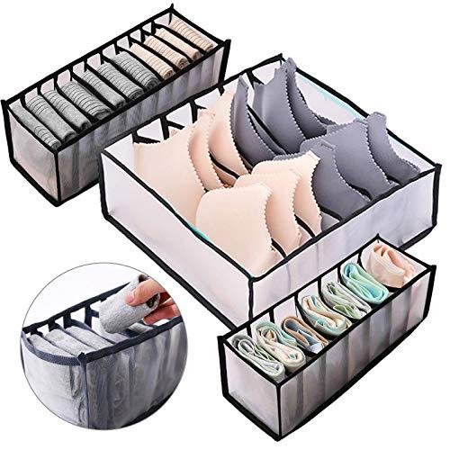 Zsroot Underwear Storage Compartment Box-Foldable Bra Organizer Drawer with 6/7/11 Lattice Underwear Storage Divider Box for Socks, Bras and Ties