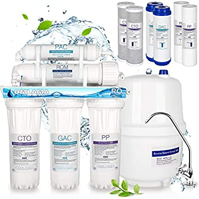 OMLAMA Reverse Osmosis System, 5-Stage Water Filter with Faucet Filter Element and Tank, Under Sink Physical Water Filtration Purifier Home