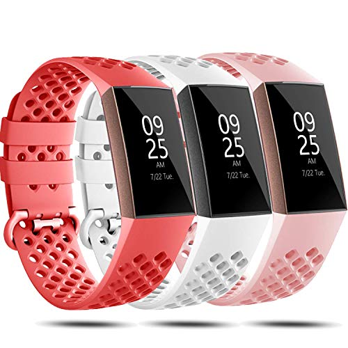 Bands Compatible with Fitbit Charge 4/Charge 4 SE/Charge 3/Charge 3 SE for Women Men, Silicone Adjustable Replacement Strap Sport Wristband Accessories for Charge 4 Smartwatch Large