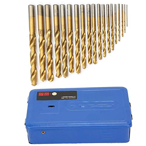 SMBYLL 19pcs oro de alta velocidad de acero recto vástago trenzado broca Set 1-10mm con caja de hierro azul