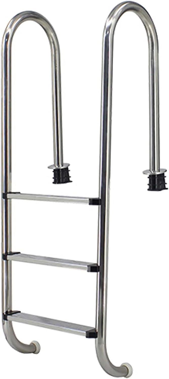 HHXD Escalera de Piscina de Acero Inoxidable con Peldaños Antideslizantes,Pool Escalera de Seguridad Fácil de Instalar/Thickness 0.12cm / W49.3cm*H158cm