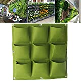 Sundarling Wall Pocket Planter Bag, 9 Pockets Wall Hanging Felt Planter Bags Wall Mount Planter Indoor Outdoor Planter Growing Bag (9 Pockets, Green)