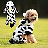 Unisex Pet Dog Winter Clothes Cow Cosplay Costume Hooded Coat Puppy Cat Warm Hooded Halloween Christmas Party Sweater Jumpsuits Apparel Jackets Cute Cow Hoodie Fleece Warm Coat for Small Dog Cat