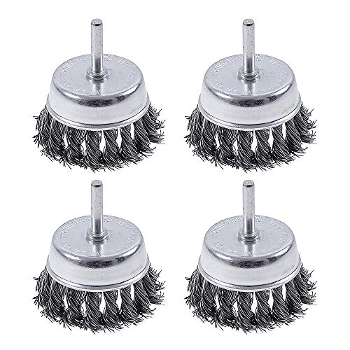 4 Pack Wire Cup Knotted Brush with 1/4-Inch Round Shank, Rocaris 3 Inch Wire Drill Brush Set For Removal of Rust/Corrosion/Paint
