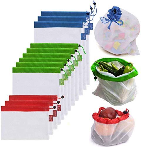 DoDoLar Obstbeutel und Gemüsebeutel Wiederverwendbare Gemüsenetz Umweltfreundliche Mehrwegbeutel Einkaufstaschen aus Polyester(12er Set)