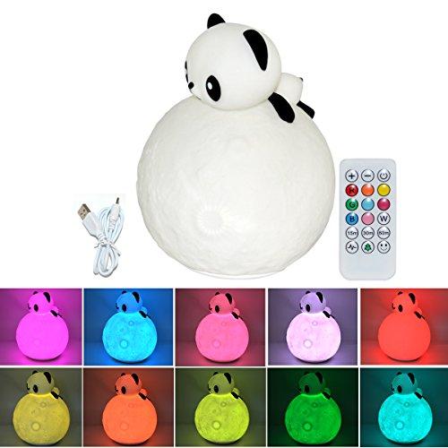 LED Nachtlicht Kinder Silikon Kaninchen Lampe USB Wiederaufladbare Nursery lampe mit Tap Steuerung für Babys Zimmer,Schlafzimmer Dekor (Panda)
