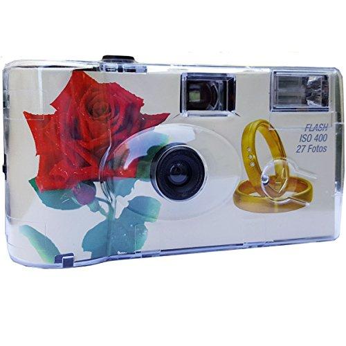Hochzeitskamera / Einwegkamera Rote Rose mit Ringe (deutsche Bedienungsanleitung, mit Blitzlicht und Batterien, je 27 Fotos, ISO 400 Fuji)