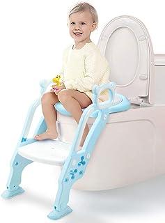GrowthPic トイレトレーニング 補助便座 おまる オマル 折りたたみ トイレ 取外し可能 子供 ベビー ステップ式 トイレトレーナー ベビー 踏み台(ブルー)