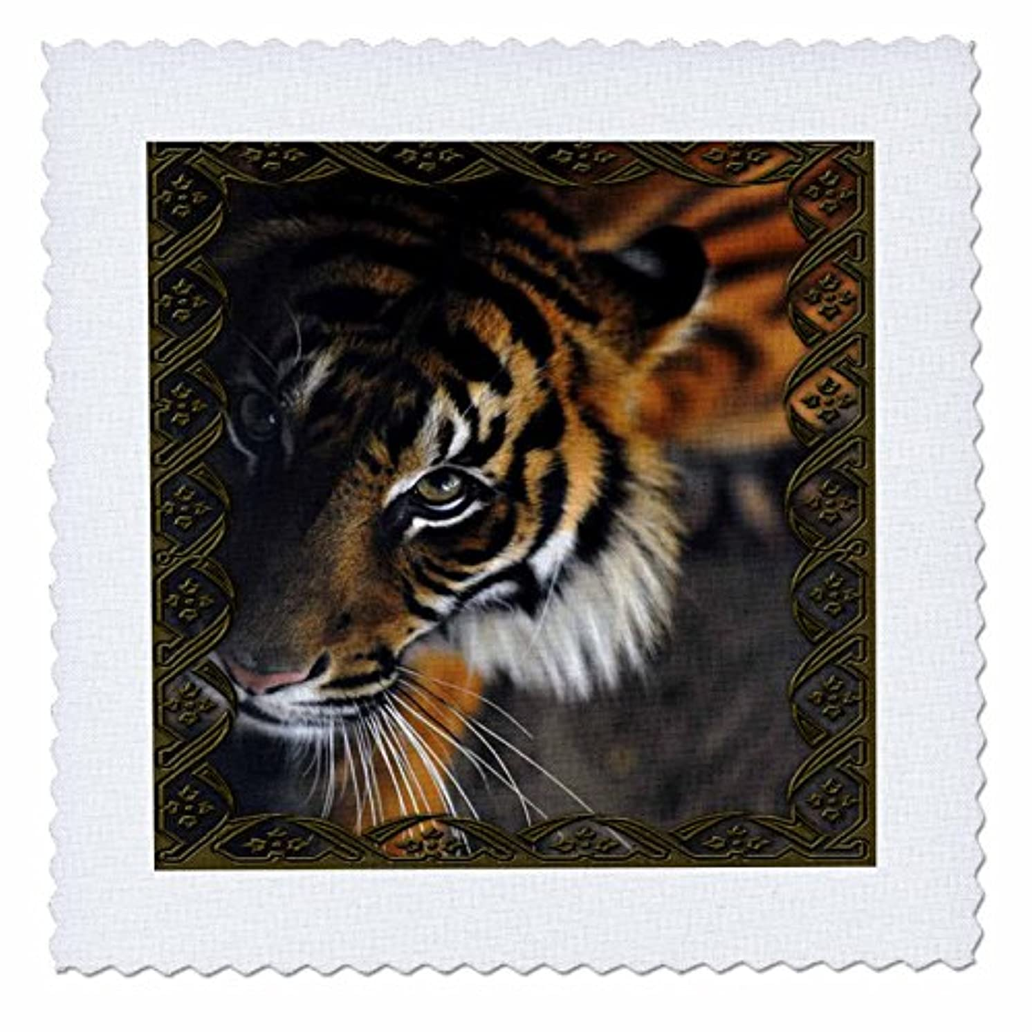 3dRose qs_108066_10 Beautiful Bengal Tiger Print and Frame-Quilt Square, 25 by 25-Inch