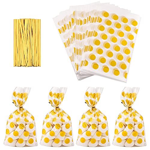 100 Pz Sacchetti di Cellophane Trasparente,Sacchetti in Cellophane Sacchetti Trasparente OPP Borse Trasparenti per Caramelle Sacchetti Caramelle per Panetteria Popcorn Biscotti Caramelle Dessert gold