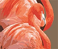 DIYデジタル絵画オレンジフラミンゴDiyデジタル油絵壁画家の装飾アクリル画(フレームなし)40X50