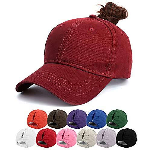 BLURBE Cappellino da Baseball Donna - Berretto da Baseball di Coda di Cavallo, Tinta Unita Berretto di Coda di Cavallo Regolabile con Visiera per Sport All'aperto (RossaA)